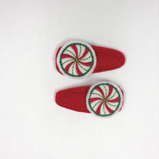 Peppermint Candy Christmas Snap Hair Clip by PJSEMBROIDERY on Etsy, $5.00