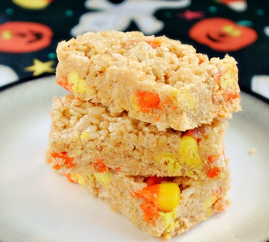 Candy corn rice krispie treats. Two of my very favorite things combined! But maybe I want them separate?
