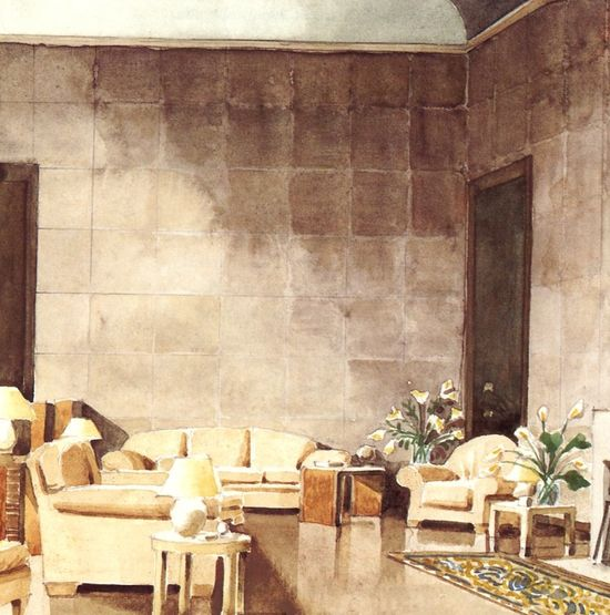 Late 1920's drawing room designed for Charles and Marie-Laure de Noailles in Paris by Jean-Michel Frank. Rendering by Mark Hampton.