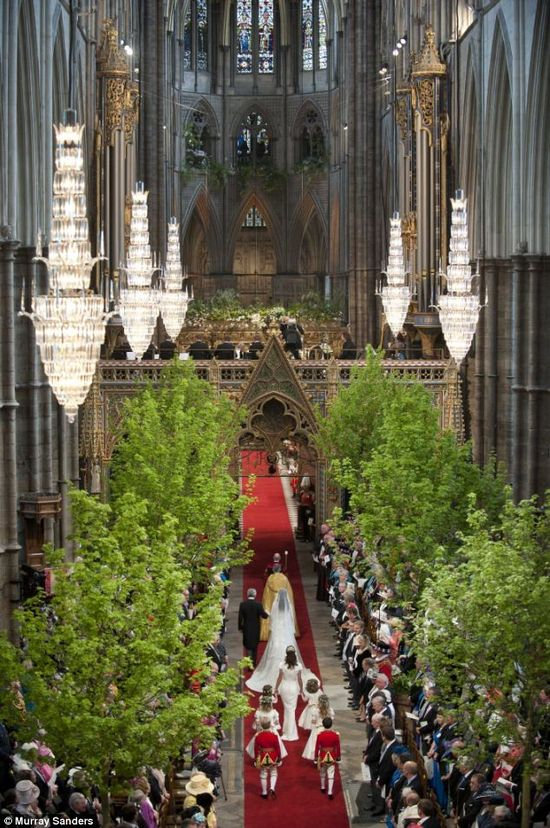 Kate Middleton walking down the aisle at Westminster Abbey