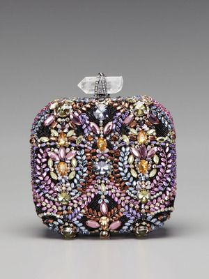 Marchesa Handbags Betty Embroidered Box Clutch
