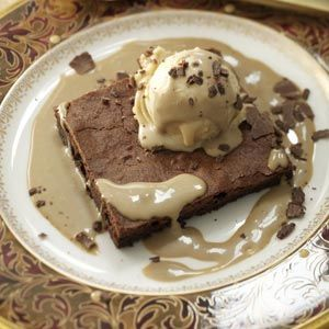 Flourless Chocolate Cake with Peanut Butter Ice Cream