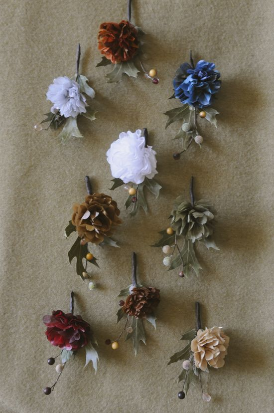 Handmade paper flower boutonnieres  by Design Come True