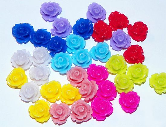 Mini Colorful Rose Cabochon Set of 36 by PinkSpySupply jewelry supplies on Etsy, $6.00