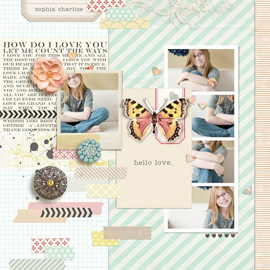 Hello Love #scrapbook #column #butterfly #layout