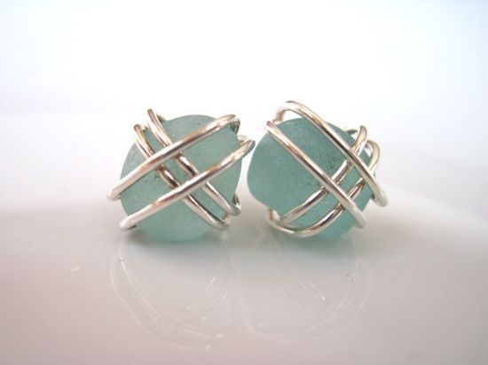pretty sea glass earrings - lilianadesigns on etsy