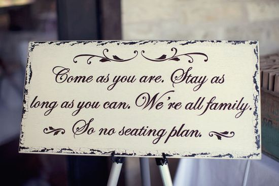 Reception seating sign