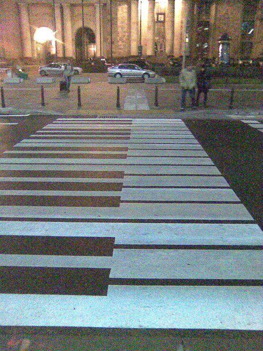 If you skip across the street, do you play a tune? #urban art #art  #music #piano