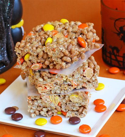 Halloween Rice Krispies Treats - Made With Peanut Butter!!!  6 cups Chocolate Puffed Rice Cereal.  1 package Reese's Pieces (10.5 oz).  3 Tbs unsalted butter.  1/3 cup peanut butter.  1 bag (10.5-oz) miniature marshmallows. - i can do without the candies..