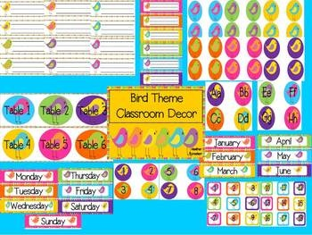 Bird Theme Classroom Decor