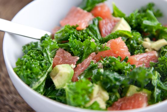 Grapefruit, kale and avocado salad. Get in my belly now.