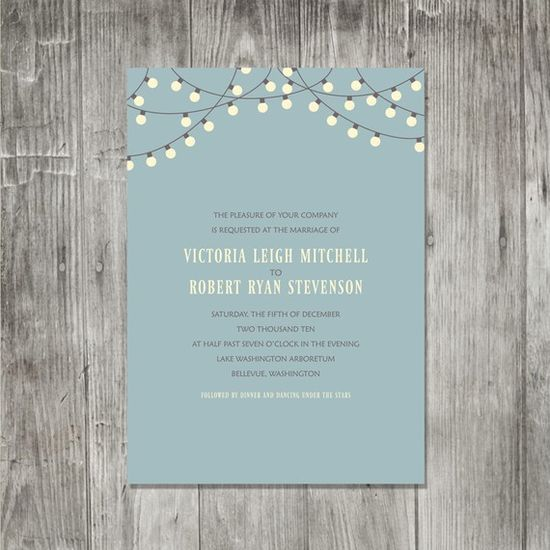 Party Lights wedding invites