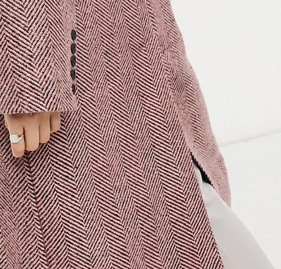 ASOS DESIGN - Manteau à chevrons coupe dad - Rose | ASOS