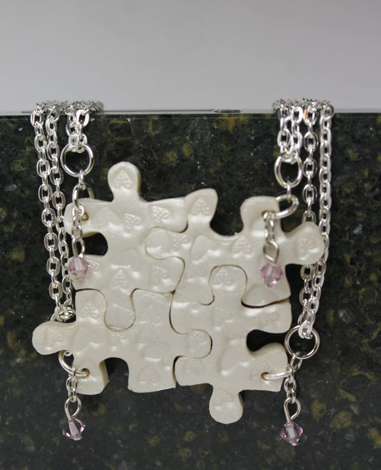 Puzzle Necklace Set of 4 Bridesmaid Best by GirlwithaFrogTattoo, $68.00