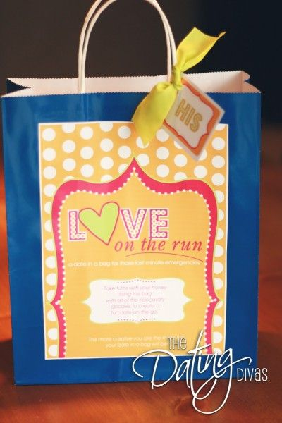 Date Night in a Bag - Love on the Run - Includes free printable and lists of what to put in 10 themed bags