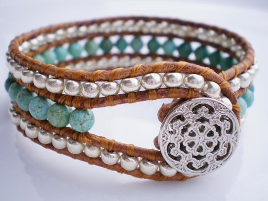 Single Leather Wrap Cuff Turquoise >> Lovely!!