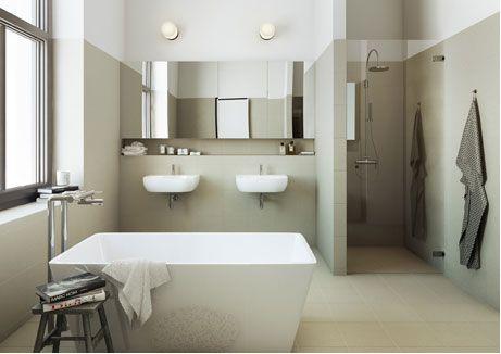 Bathroom ~ The Straw Hat Factory via emmas designblogg *ledge + cabinets*