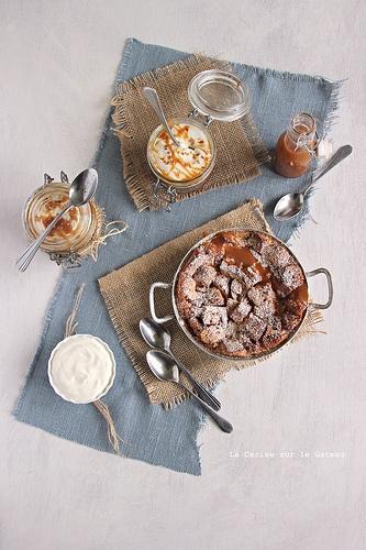 pudding004 Bread & Butter pudding, sauce caramel et mousse de fromage blanc à la cannelle