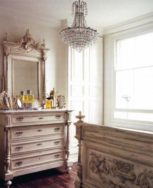 Parisian Bedroom Suite- love the chandelier