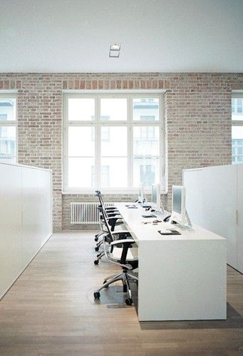 Office space, exposed brick