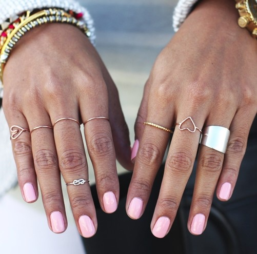 Thin rings + pink nails Sigh - I would love these nails