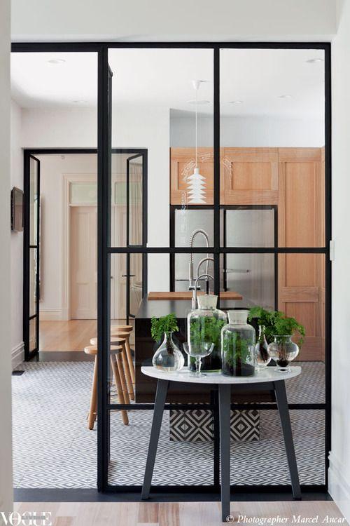 tile! black window! simple wood cabinets! vogue living
