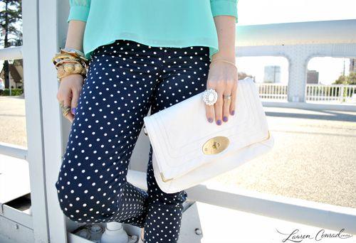 Consider: navy polka dot pants with aqua