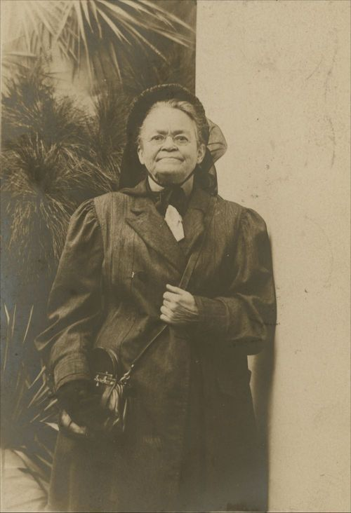 An informal portrait of temperance leader Carry Amelia Nation, wearing a bonnet and coat. 1908