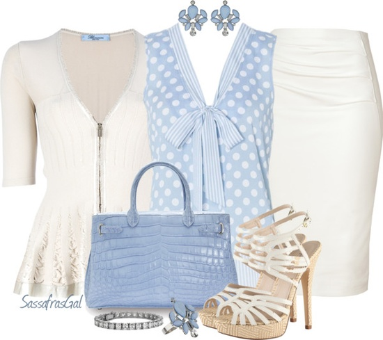 """Pale Blue & White"" by sassafrasgal on Polyvore"