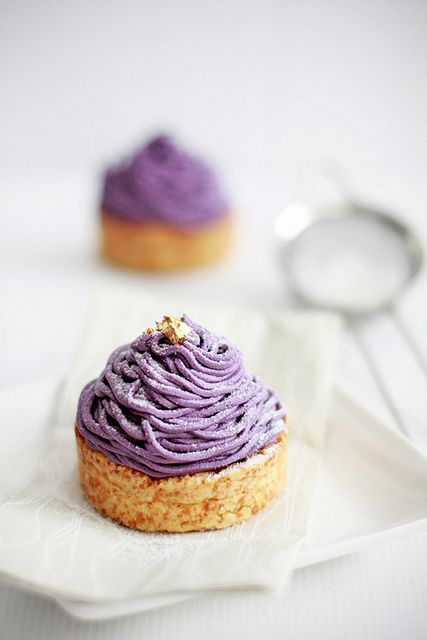Seriously beautiful Purple Sweet Potato Mont Blancs. #potatoes #sweet #purple #food #pastry #dessert #French #beautiful