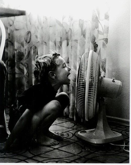 I remember doing this as a kid, singing into a fan on a hot summer's day!