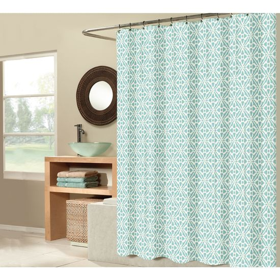 Shop allen + roth Polyester Aqua Patterned Shower Curtain at Lowes.com -- it's PERFECT!!!