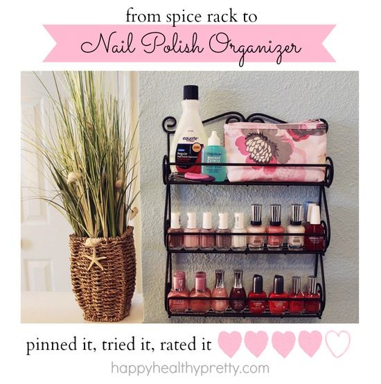 a spice rack is a great way to organize your nail polish