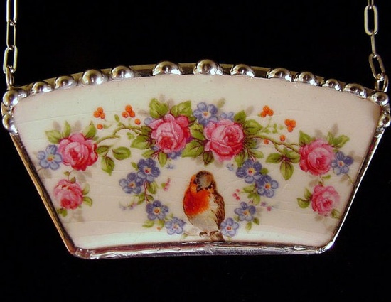 Broken china jewelry necklace antique robin bird roses forget me nots made from a broken plate