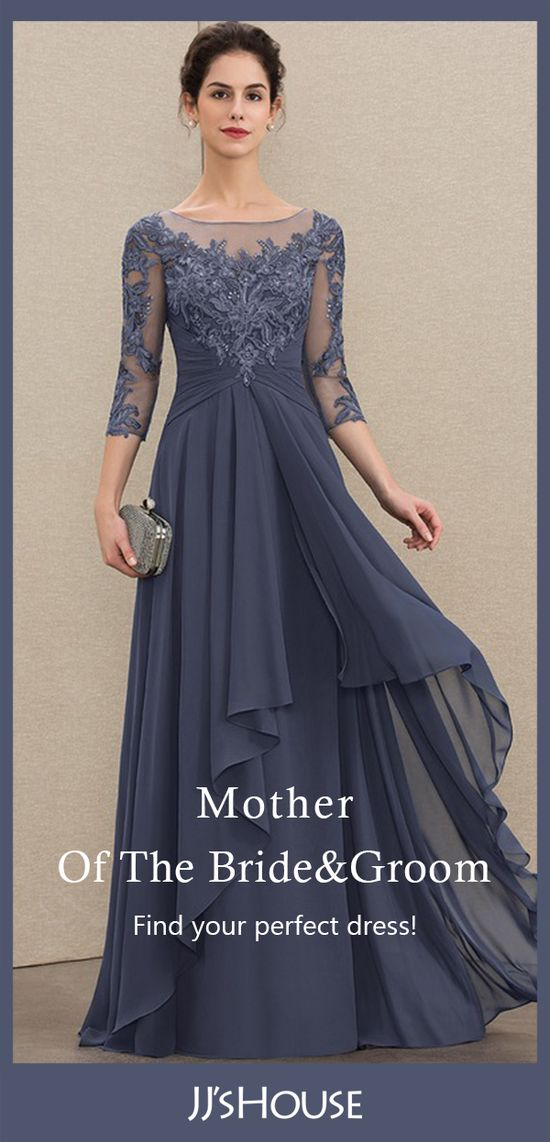 Chiffon Lace Mother of the Bride Dress With Cascading Ruffles   Cheap Mother of the Bride & Groom Dress   Get the biggest range of super stylish Mother Of The Bride Dresses at JJsHouse. Choose your fabulous and cheap Mother Of The Bride/Groom Dresses to arrive with fast shipping. #MotherOfTheBrideDresses #MotherDresses #NewArrivals #JJsHouse #FloorLengthDresses #Chiffon #Lace #Stormy