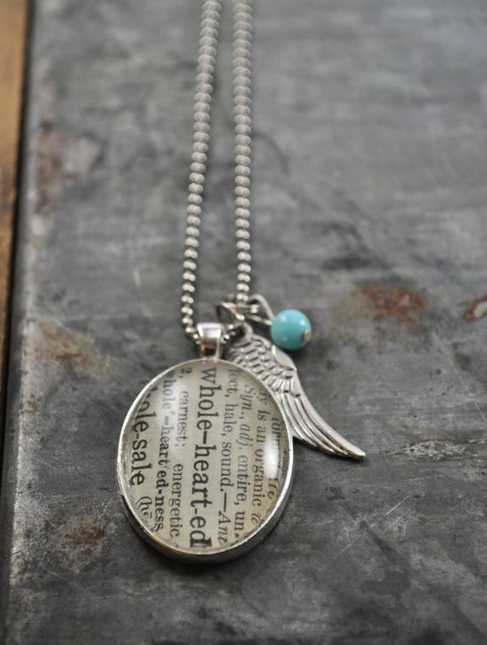 Vintage Dictionary Word Necklace Wholehearted made by www.kraftykash.net  $24.00 #handmade #jewelry