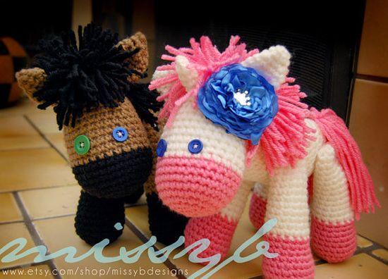 Crochet Horse and Unicorn Pattern  Stuffed Animal by missybdesigns, $5.50