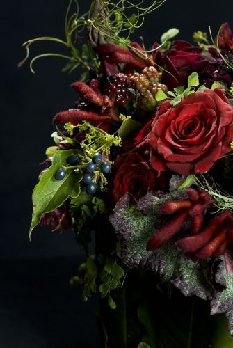 Stunning red flower arrangement from Francoise Weeks.