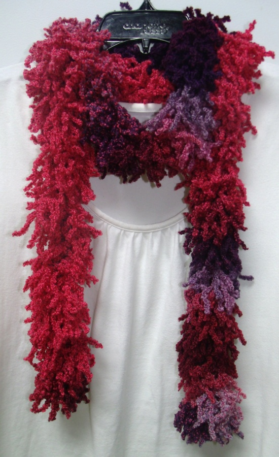 Shaggy Purple and Pink Crochet Scarf. $10.00, via Etsy.