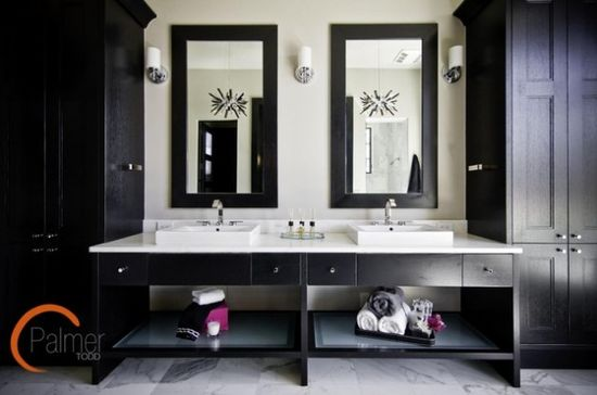 30 Elegant Black & White Colored Bathroom Design Ideas