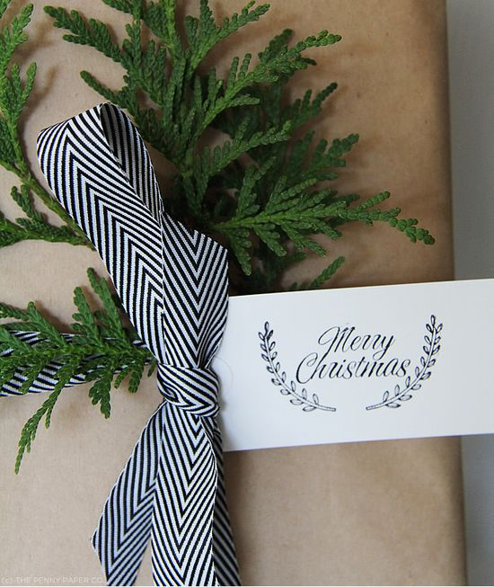 chevron ribbon, wreath trimming, and brown paper