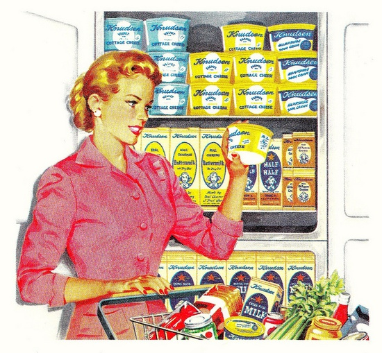 Shopping for cottage cheese, 1950s. #vintage #1950s #supermarket #homemaker