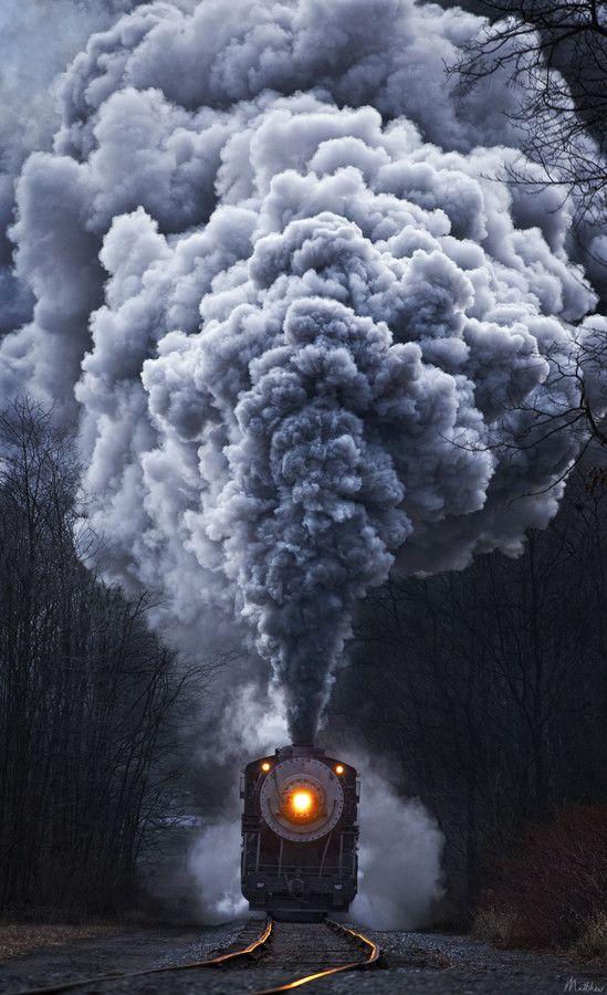 Steam locomotive railroad train tracks smoke headlight, Cumberland, West Virginia