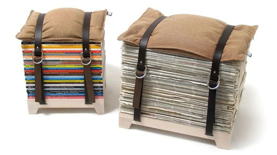 Adjustable Storage Stool....great use for stacks of magazines and newspapers. Wow.