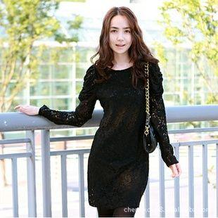 Korean Fashion Puff Sleeve Slim Lace Dress
