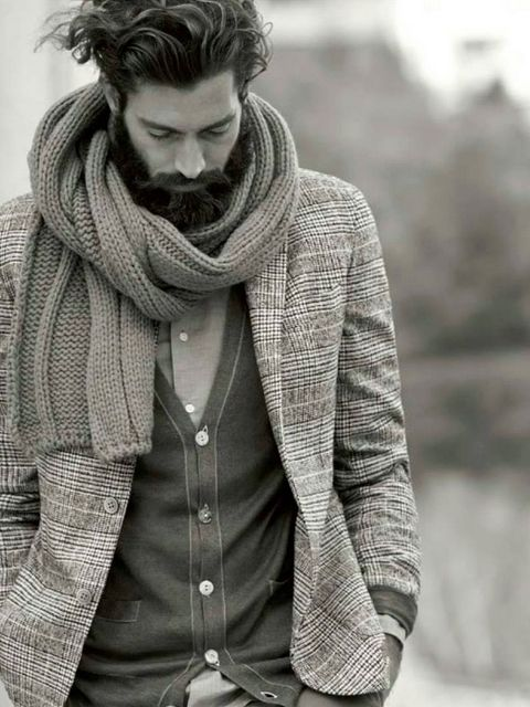 ? Masculine and elegance gentleman style winter with scarf
