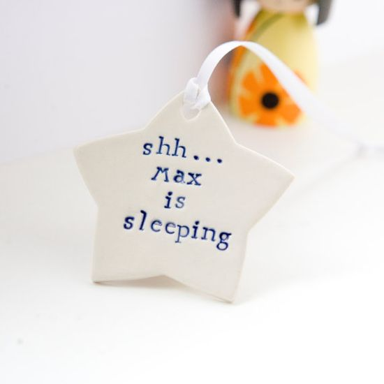 Shhh! Personalized baby gift porcelain star by DianaParkhouse, £8.50