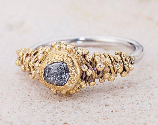 Ring - Rough diamond, raw diamond, Diamond, 22k gold, 24k gold, sterling silver, gold, silver, silver and gold, 925 sterling silver, natural diamond... Gefen Jewelry