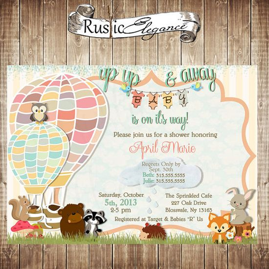 Hot Air Balloons and Baby Animals Shower by RusticElegance18