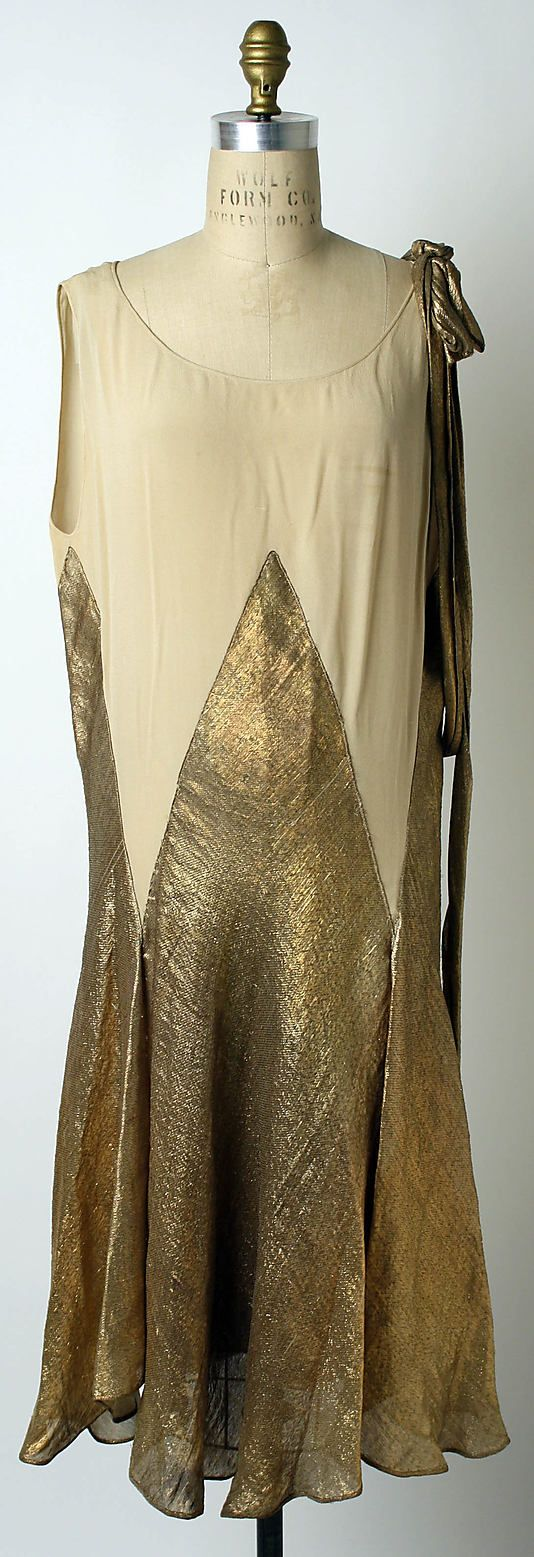 ~Lanvin Dress - SS 1927 - House of Lanvin (French, founded 1889) - Design by Jeanne Lanvin (French, 1867-1946) - Silk, metallic thread~